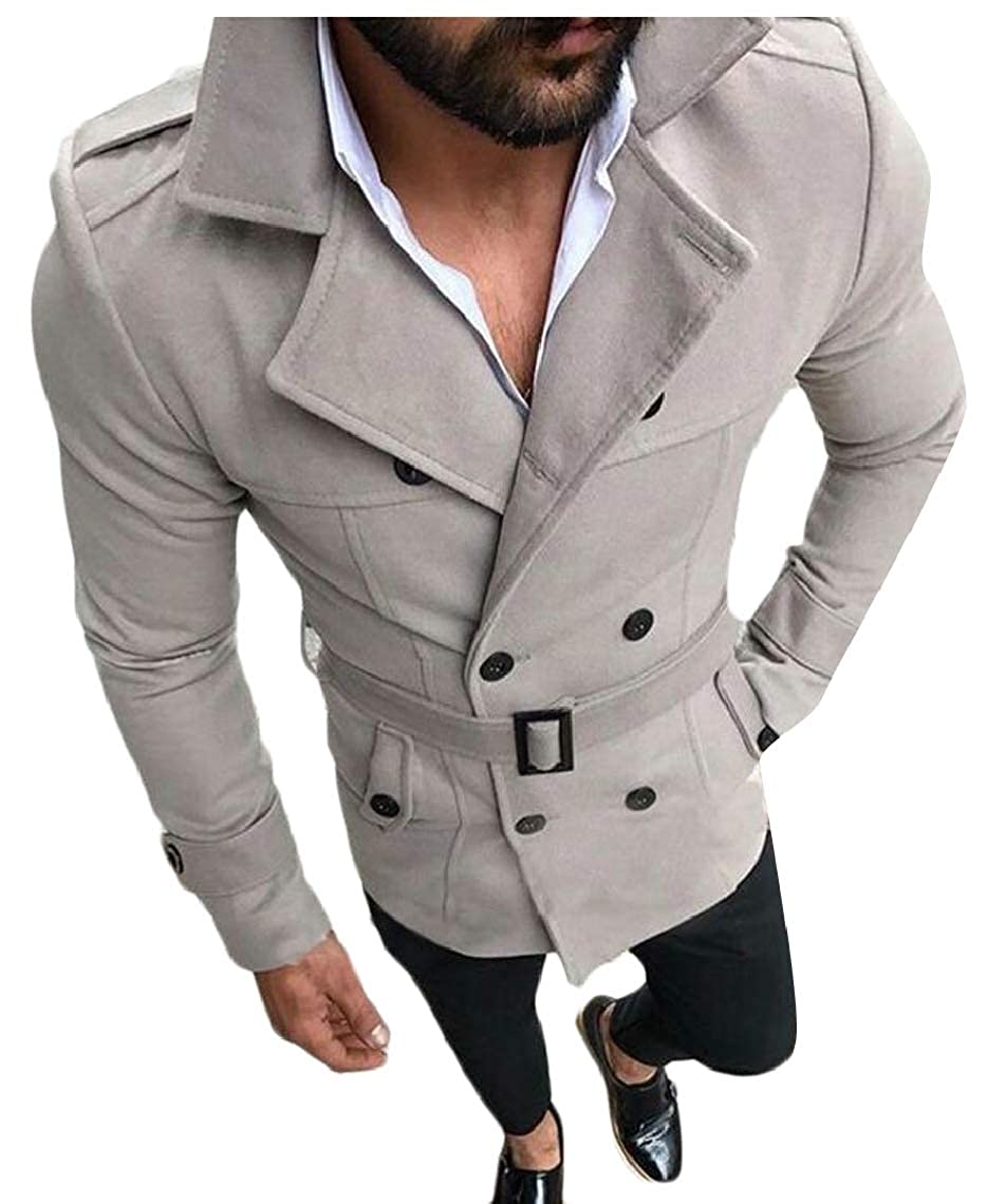 GAGA Men Lapel Double Breasted Classic Fit Belted Faux Suede Trench Coat