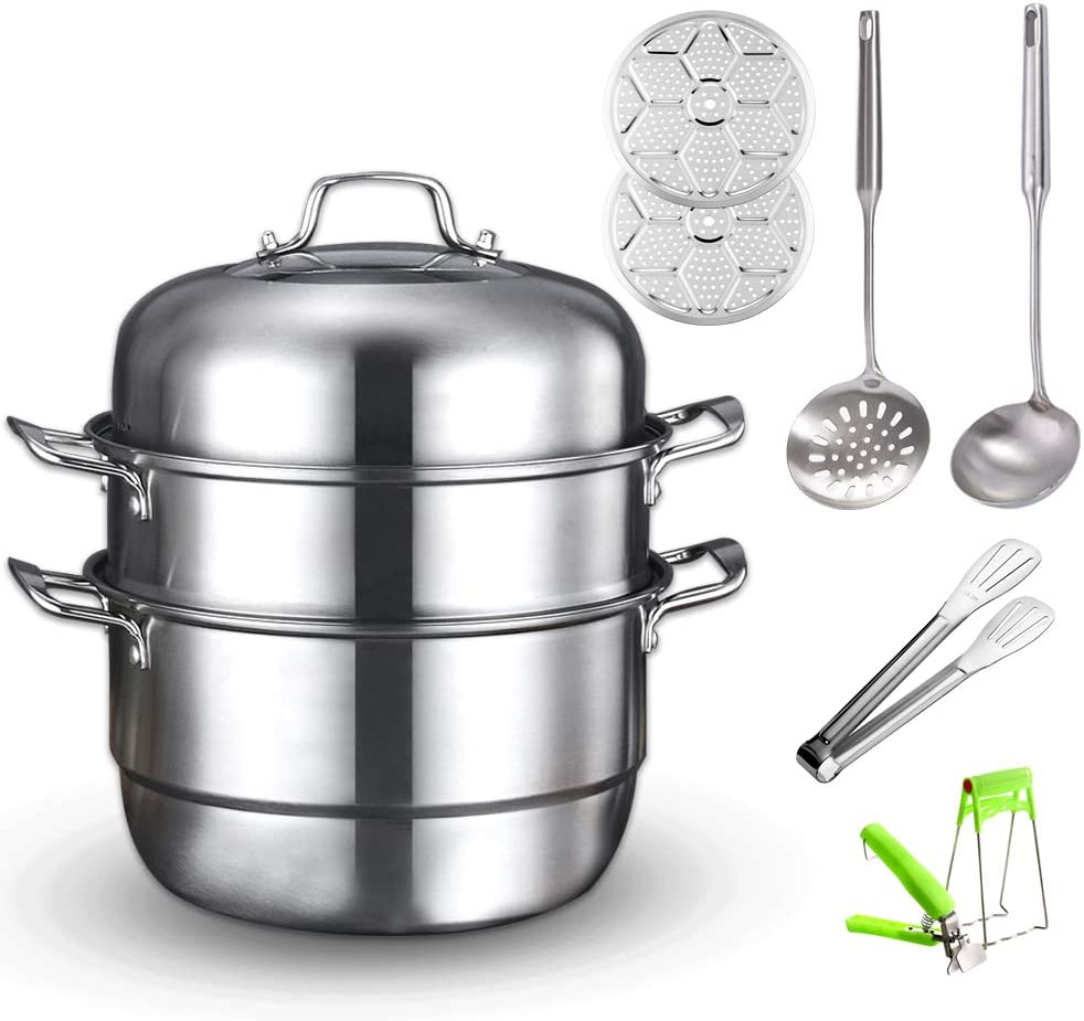 Premium Heavy Duty Stainless Steel Steamer Pot Set,Steamer Cookware Pot,Saucepot Multi-layer Boiler with Tempered Glass Lid, Work with Gas, Electric, Induction Oven, Grill Stove Top, Dishwasher Safe