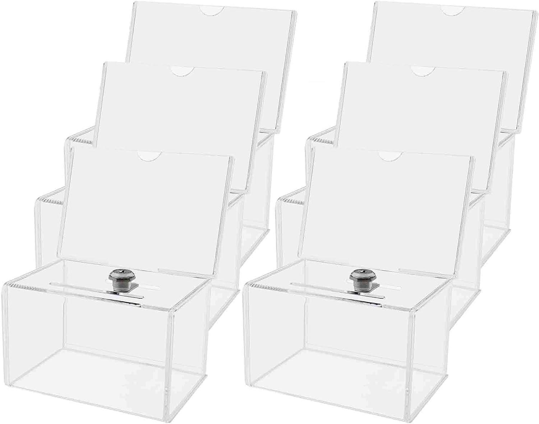 マーケティングホルダーロックコインボックスwithヘッダーBallotクリアの6 x 4文学