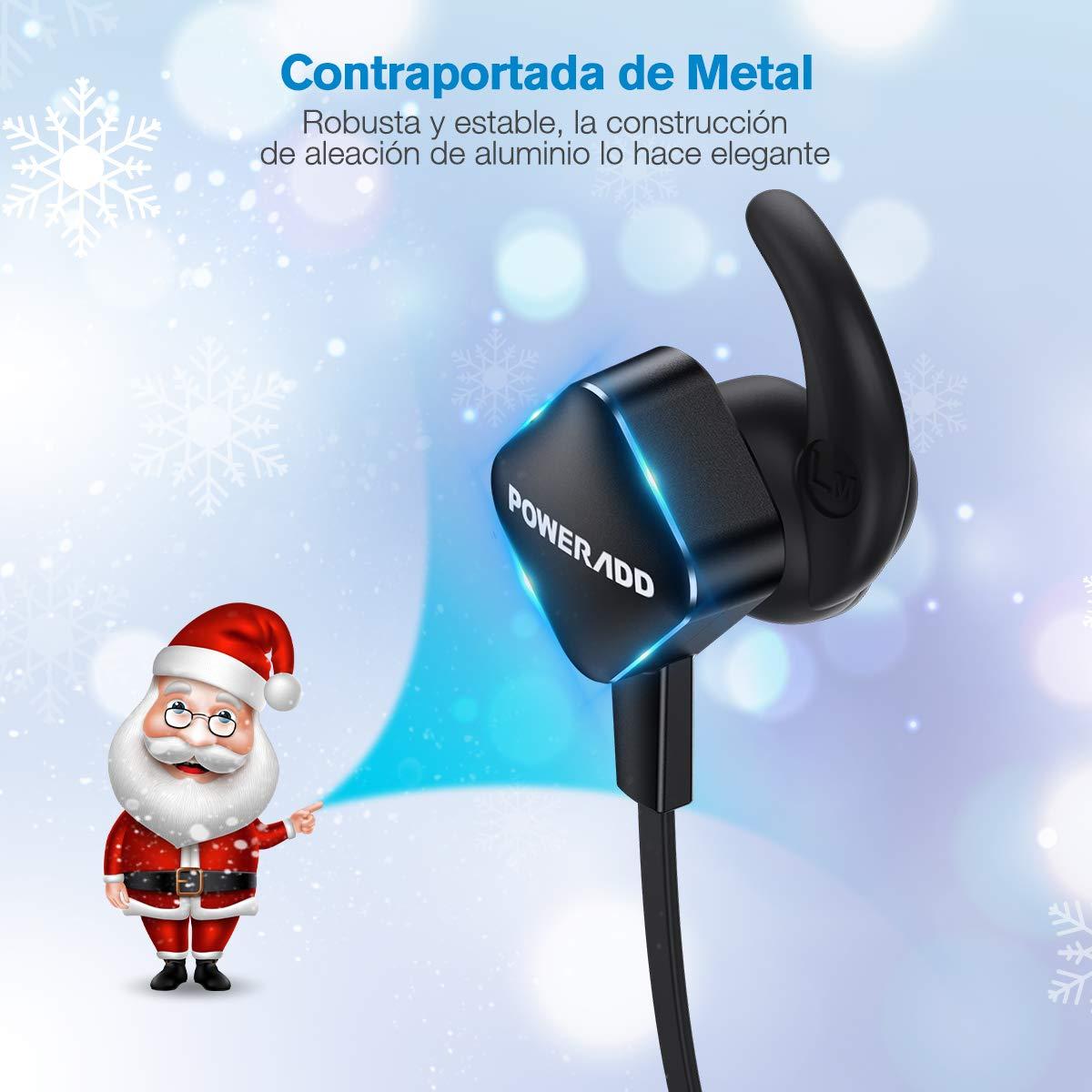 POWERADD Auricular Deportivo Inálambrico de Impermeable IPX4, con Microfono Incluido, Bluetooth 4.1