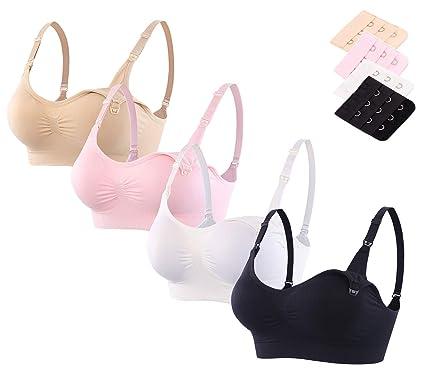 d3f4588807855 Srizgo Nursing Bra Pack of 2 or 4 Seamless Womens Maternity Sleep Bras  Padded with Free Bra Extenders (Black Pink Beige White)  Amazon.co.uk   Clothing