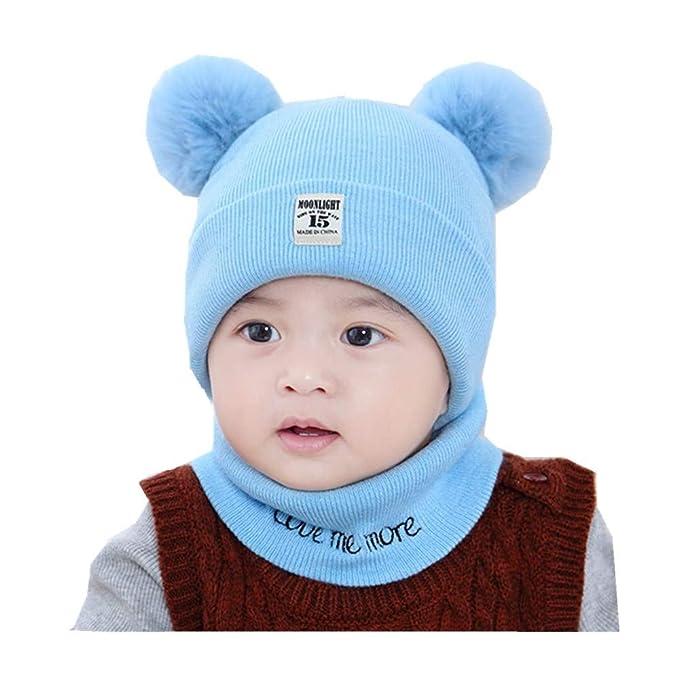 puseky Cappelli e sciarpe per bambini in maglia invernale Pom Pom Beanie  Cap Sciarpa scaldacollo Set per le ragazze dei ragazzi (Color   Blu 3437fb719a10