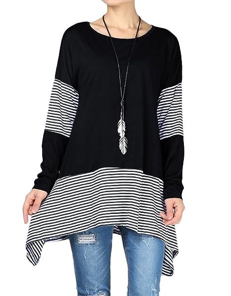 958a6e2be6ea Mordenmiss Women's Stripes Asymmetry Tunic Swing Flowy Plain T-Shirt Top S  Black