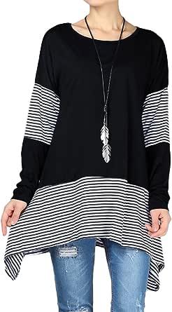 Mordenmiss Women's Stripes Asymmetry Hem Tunics Blouse with Pockets