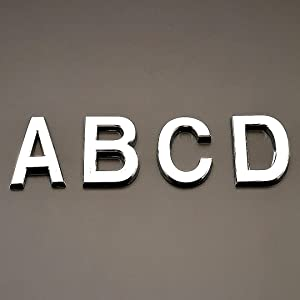 "Hopewan Self Adhesive Door Letters A B C D, 2 Inch Alphabet Sign Wall Stickers for Apartment/Mailbox/Home Room, Silver Shining. (2"" ABCD, Silver)"