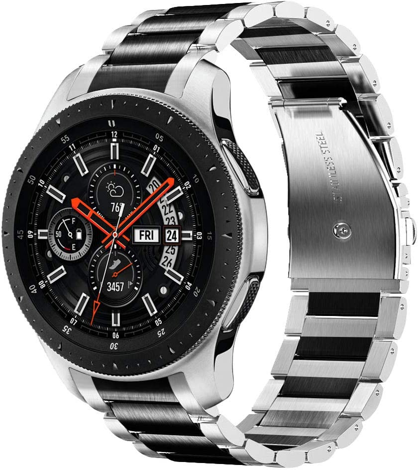 V-MORO No Gaps Metal Strap Compatible with Galaxy Watch 46mm Bands/Gear S3 Frontier Band with Clips Solid Stainless Steel Bracelet for Samsung Galaxy Watch 46mm R800/Gear S3 Smartwatch Silver Black