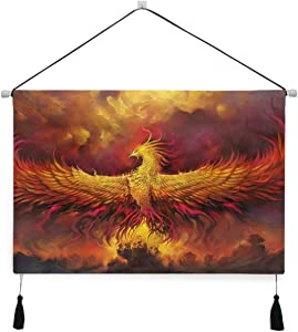 Hulahula Golden Phoenix Bird Wall Art Hanging Canvas Print Painting Artwork Poster Pictures for Living Room Bedroom Home Office Decor