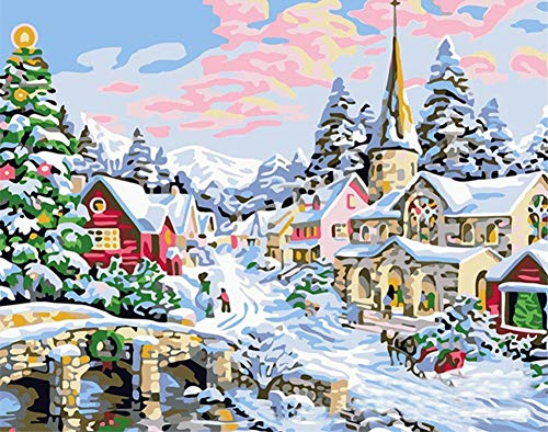 (ABEUTY DIY Paint by Numbers for Adults Beginner - Christmas Snow Scene 16x20 inches Number Painting Anti Stress Toys (No)