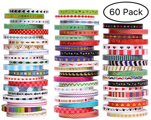 Ninico 60 Rolls Washi Tape Set,3MM Wide Foil Gold Skinny Decorative Masking Washi Tapes for Scrapbooks, DIY Crafts, Cards, Journals, Planners, Gifts