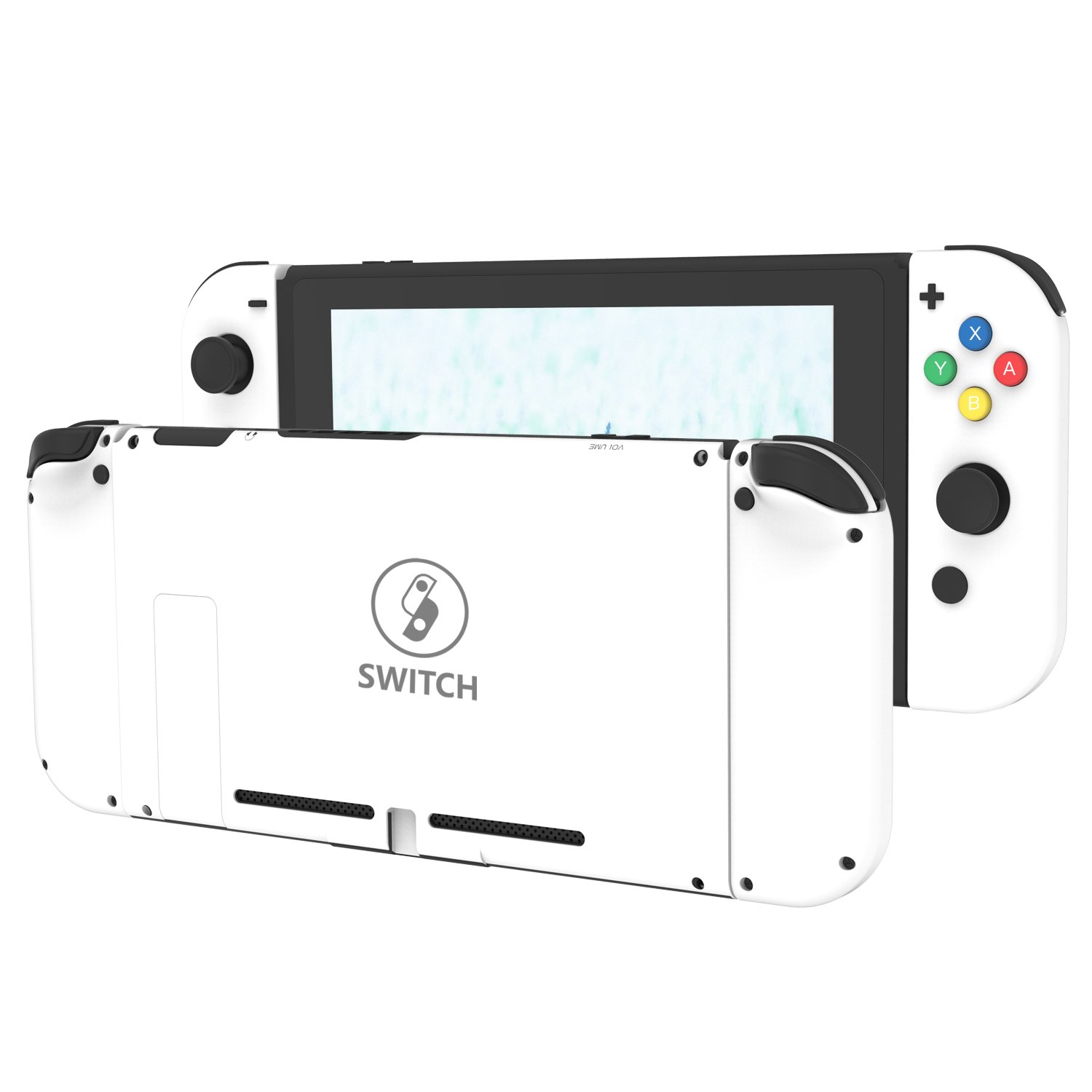 BASSTOP DIY Replacement Housing Shell Case Set for Switch NS NX Console and Right Left Switch Joy-Con Controller Without Electronics (White Set)