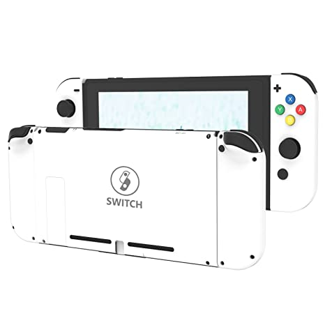 BASSTOP DIY Replacement Housing Shell Case Set for Switch NS NX Console and Right Left Switch Joy-Con Controller Without Electronics (Set D-Pad-White)