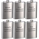 Top Shelf Flasks 6 Pack of Laser Engraved 8oz Groomsman Flasks