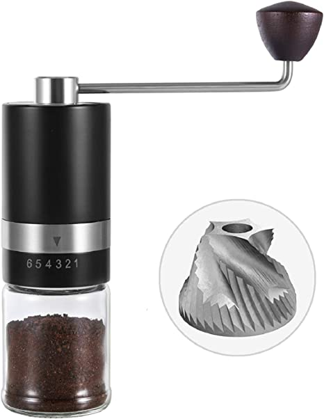Amazon Com Vevok Chef Manual Coffee Grinder Hand Coffee Grinder 6 Adjustable Setting Stainless Steel Conical Burr Mill Portable Hand Crank Coffee Bean Grinder For Espresso Gift Kitchen Dining