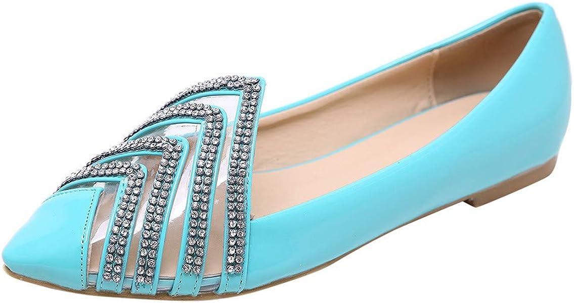 Zapatos de Vestir Plano para Mujer Primavera Verano 2019 PAOLIAN Sandalias Casual Fiesta Boda Elegantes Calzado de Charol PVC Transparentes Puntiagudo ...