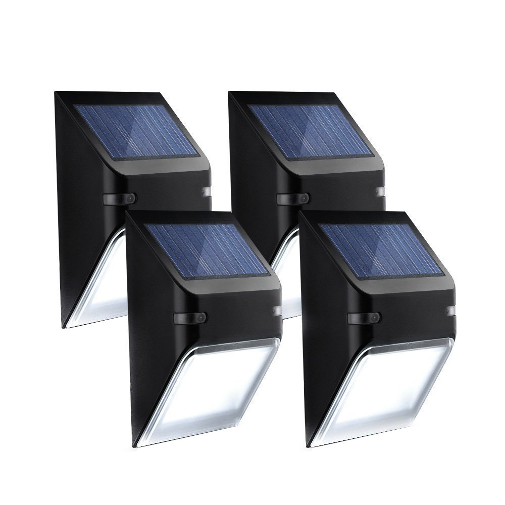 Mpow Solar Lights, Wall Lamp Wireless Security Outdoor Lighting for Patio, Deck Yard, Garden, Home Driveway Stairs, Outside Wall, Day/Night Auto On/Off - (No Dim Light Mode), Light Sensor, 4 Pack by Mpow