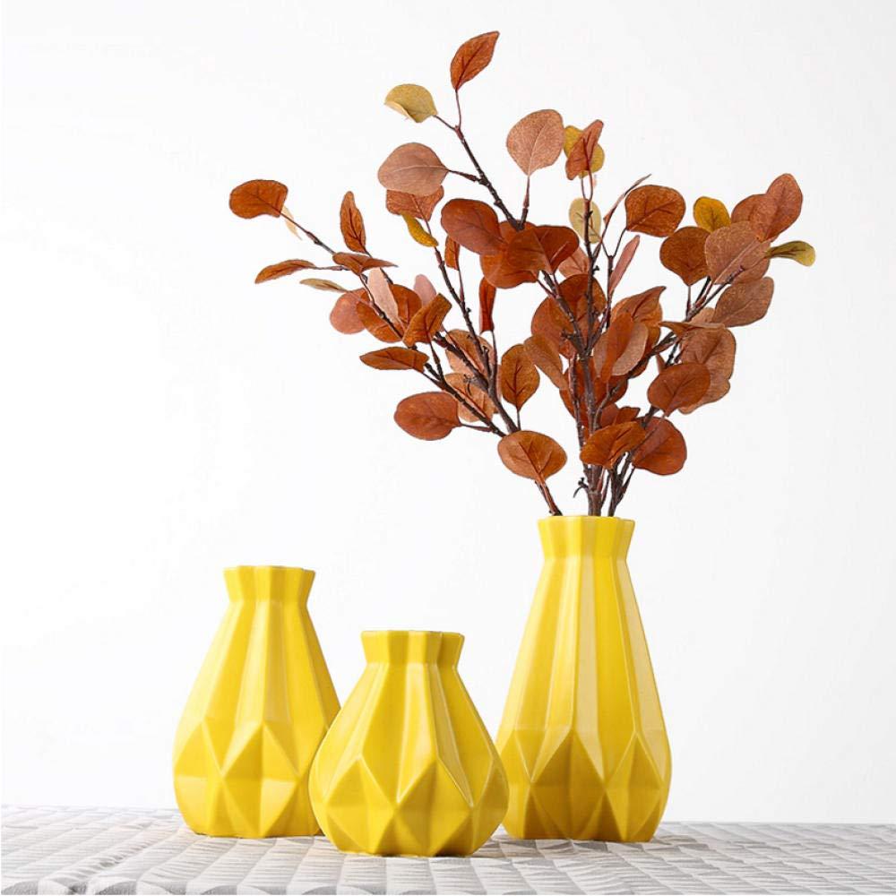 Asbjxny Europe C/éramique Vase Jaune g/éom/étrie Origami Vases en Porcelaine Arts et M/étiers dart Fleurs vases de Mariage d/écoration de la Maison Accessoires-S