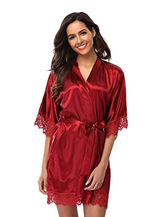 b1eff04a6c Jaskin Women s Satin Short Kimono Robe Nightdress Sleepwear Bathrobe  Nightgown Pajama Party Robe at Amazon Women s Clothing store
