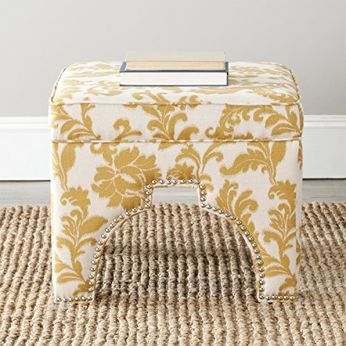 Safavieh Mercer Collection Grant Ottoman, Maize and Beige