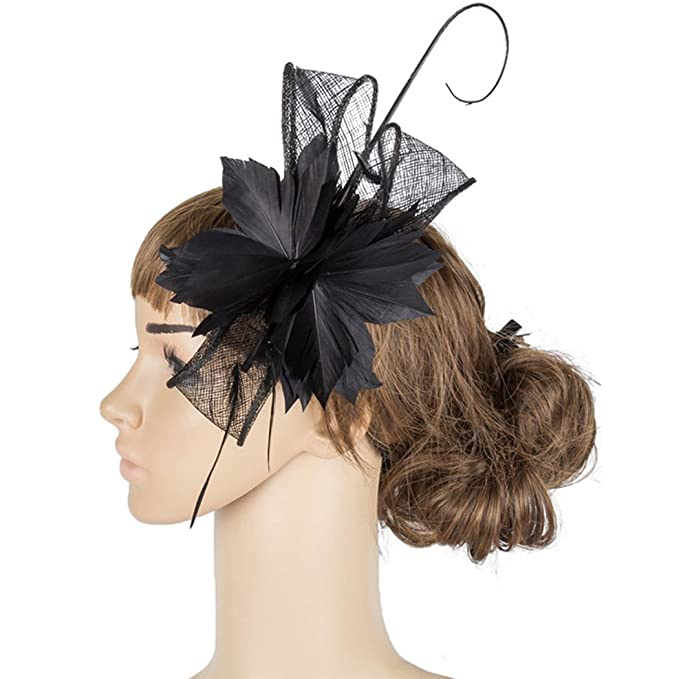 Krastal Womens Fascinators Ladies Hair Accessories Wedding Feather Flower  Headdress at Amazon Women s Clothing store  03a0bad11b0