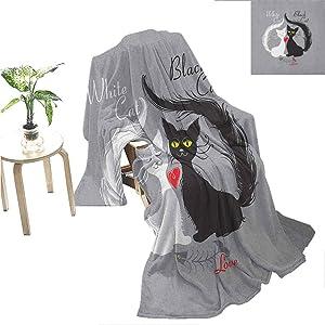 "Mademai Cat Blankets Pair of Cats in Love Having Eaten Fish Red Heart Romantic Black and White Kitties for Teen Girls 70""x60"" Black White Grey"