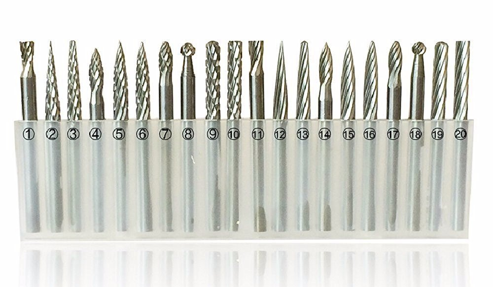 20 Pieces 1/8'' Shank Tungsten Steel HSS Routing Router Drill Bits Set Rotary Burr Dremel Tools Engraving Wood Working Tools