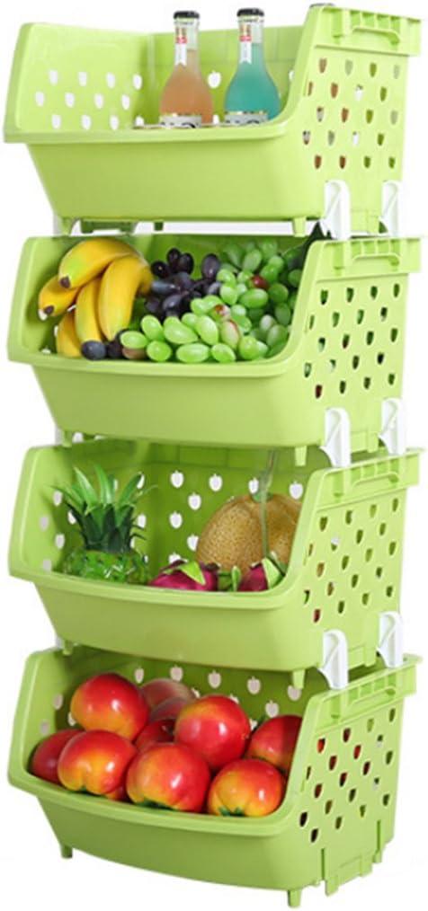4Pack Market Baskets YIFAN Storage Basket Stacking Baskets Organizer for Fruits, Vegetables, Pantry Items Toys - Light Green