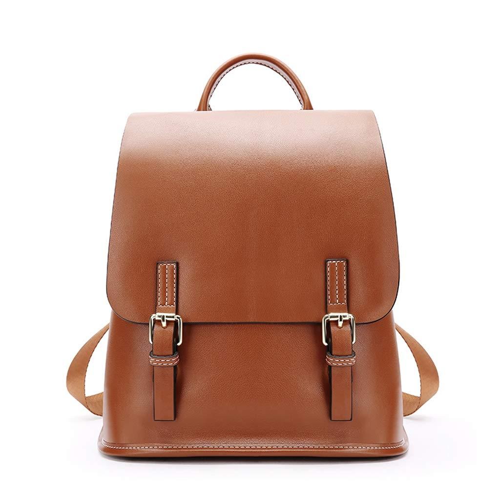 HZH Anti-Theft Shoulder Bag Female Bag Soft Leather Tide College Wind Wild Fashion Leather Backpack Caramel Colour
