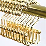 YOMYM Double-hook Shower Curtain Rings Hooks Eight solid bead bathroom curtain hook stainless steel (Set of 12 Hooks)