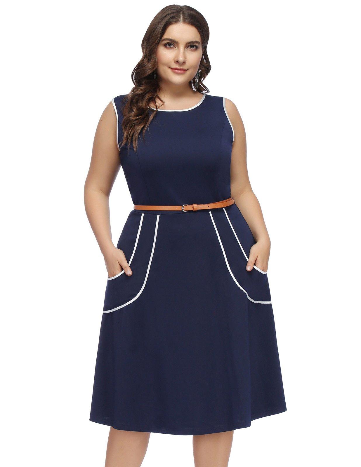 Women Sleeveless Belted Business Flared A-Line Pockets Dress 22W Navy Blue