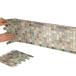 Collections Etc Peel and Stick Backsplash Tiles, Mosaic 10-Inch x 10-Inch for Bathrooms and Kitchens Set of 6 Wall Tile Square Sheets, Neutral Colors, Brown Multi