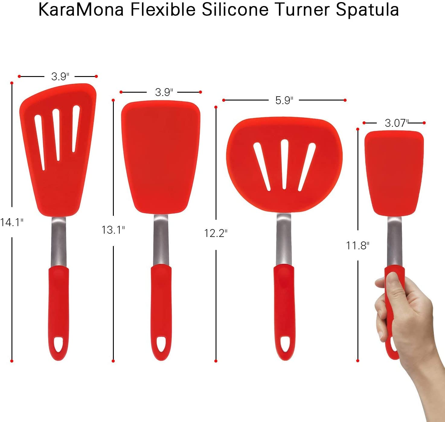 Chowcencen Spatule Silicone Anti-adh/ésif Large spatule Turner Hanging Large Pancake cr/êpes r/ésistant /à la Chaleur Frit Batterie de Cuisine Vert