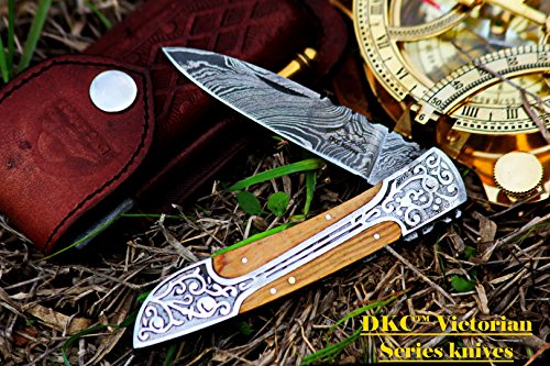 Victorian Snake - DKC Knives (21 5/18) DKC-37-OW VICTORIAN Damascus Folding Pocket Knife Olive Wood 7.75