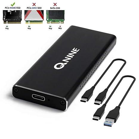 QNINE NVME Enclosure [Upgraded Version], Included 2 USB Cables, Fit for Samsung 960 970 EVO PRO WD Black NVME SSD