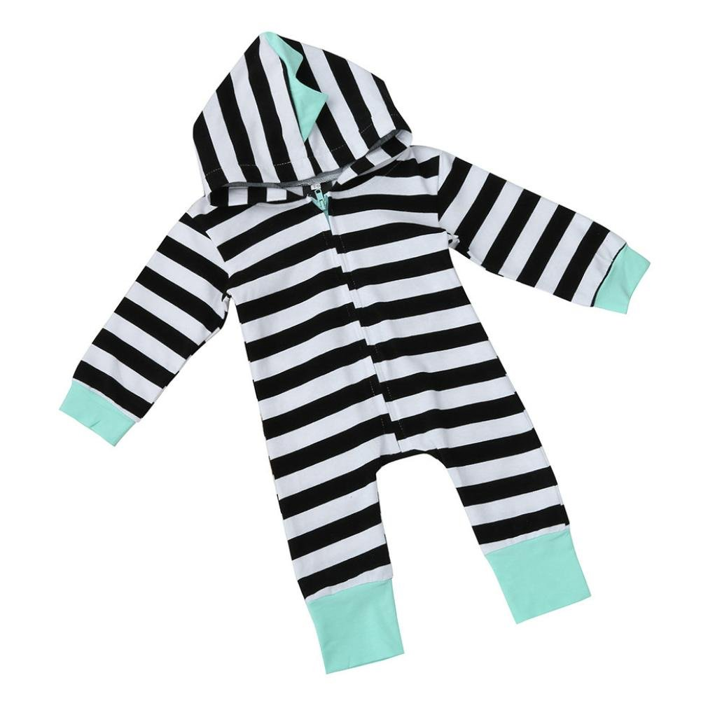 Letong Infant Newborn Baby Boy Girl Kids Cute Stripe Hooded Romper Jumpsuit Clothes (18-24 Months, Black)