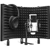 Protector Filtro Micrófono Plegable, Escudo de Aislamiento de Micrófono con Montaje Aislamiento Panel Acústico Estudio Espuma