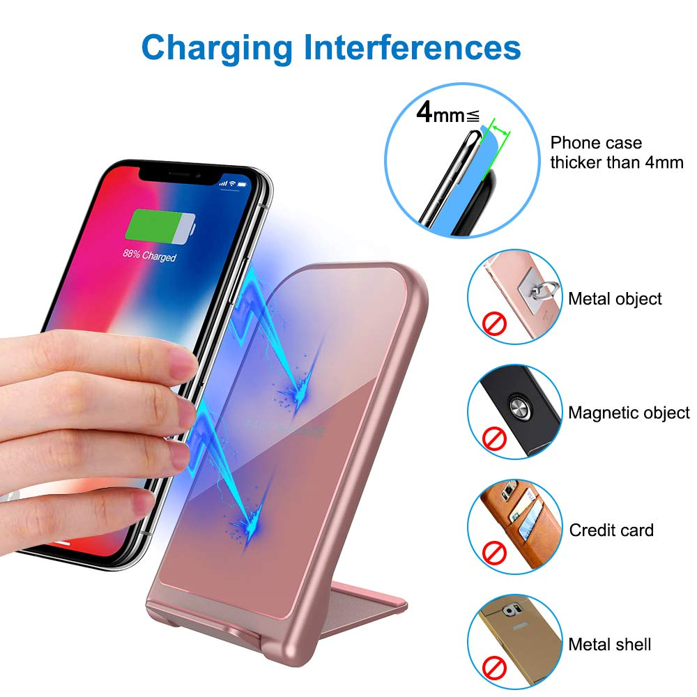KZY Fast Wireless Charger Stand, QI Certified Wireless Charger Compatible for iPhone X/8/8+,Folding Wireless Stand Charger for Galaxy S9/S9+ S8/S8+ Edge, Rose Golden (with QC 3.0 AC Adapter)