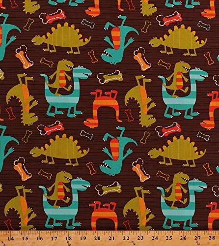 Cotton Dinosaurs Dinos T-Rex Jurassic Prehistoric Animals Dog Bones Stripes Dino Dudes Kids Baby Babies Cotton Fabric Print by The Yard (CX4430-BROW-D)