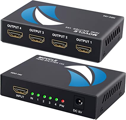 HDMI Splitter 1 in 4 Out 1x4 Ports v1.4 Powered 4K//2K Full Ultra HD 1080p US Adapter 3D Support
