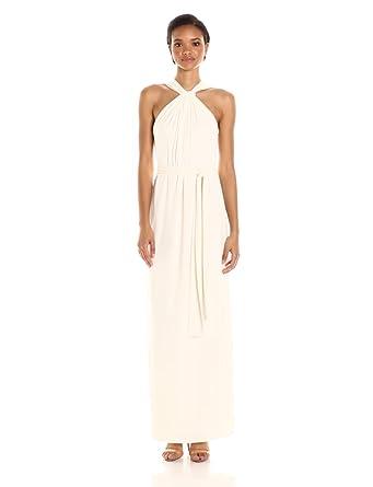 df6baad8bd1 Halston Heritage Women's Sleeveless Knot Drape Neck Jersey Gown with Sash,  Chalk, ...