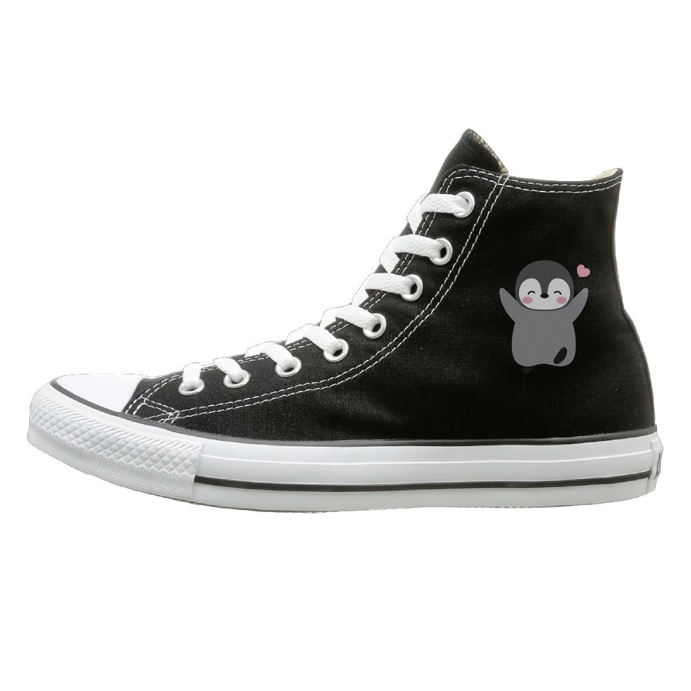 Aiguan Funny Baby Penguin Canvas Shoes High Top Casual Black Sneakers Unisex Style