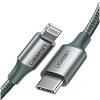 UGREEN Cable USB C a Lightning Carga Rápida, Cable Trenzado de Nylon con Certificación MFi para iPhone 11 Pro MAX X XS XR XS MAX 8 Plus y Más (Verde Oscuro),1M