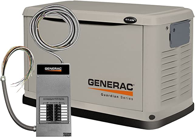 Amazon Com Generac 6437 Guardian Series 11kw Air Cooled Standby Generator Natural Gas Liquid Propane Powered Steel Enclosed With 12 Circuit Transfer Switch Discontinued By Manufacturer Garden Outdoor