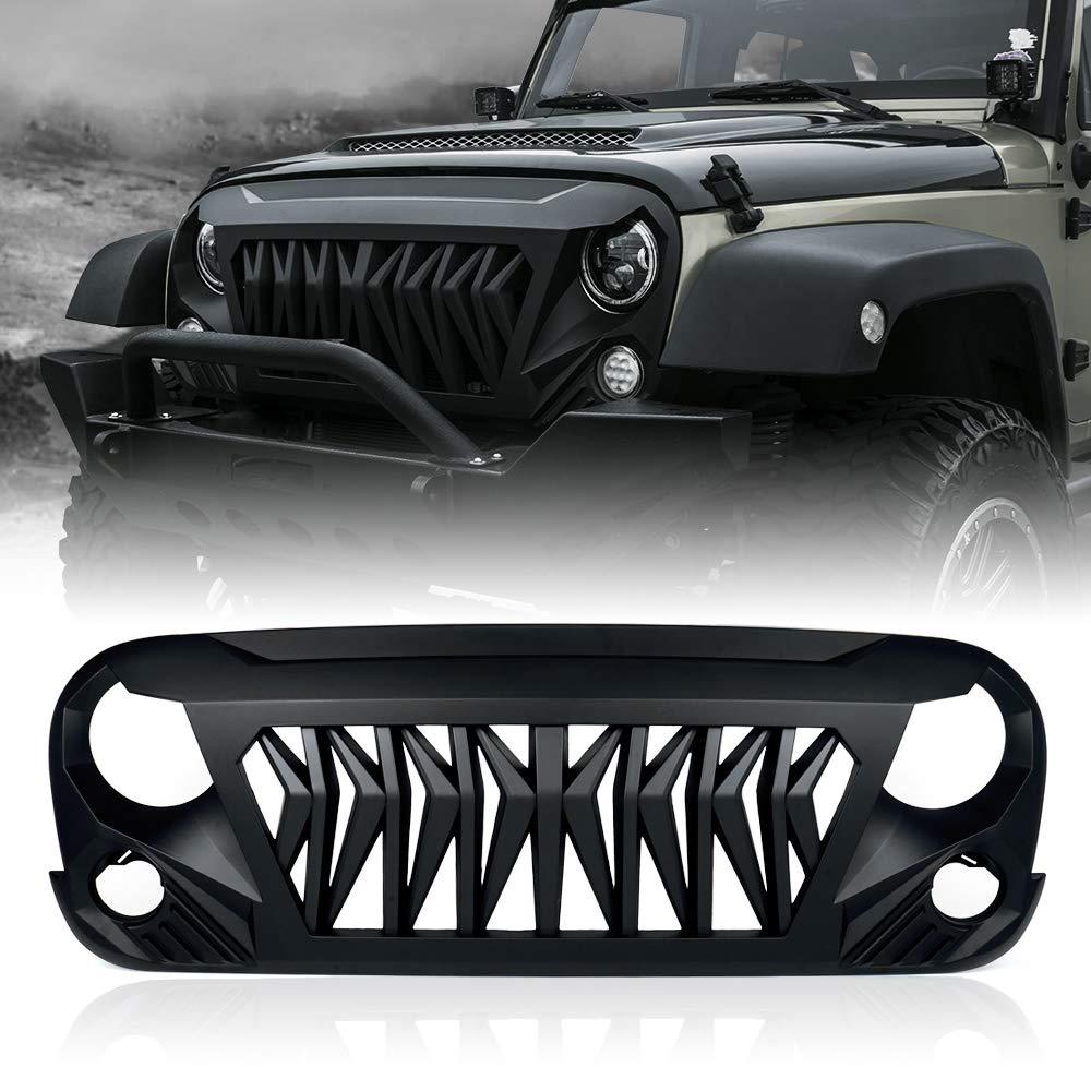 Xprite Matte Black Front Grill Venom Grille for 2007-2018 Jeep Rubicon Sahara Sport JK JKU