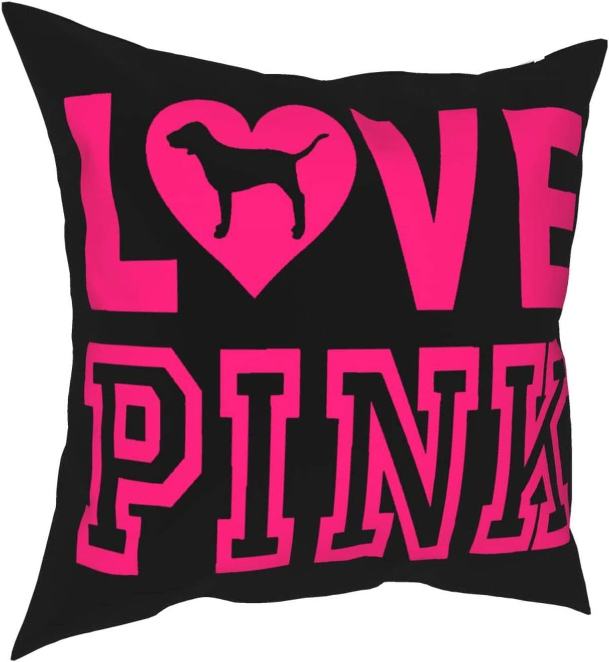 Enjoywellcoolife Victoria Secret Love Pink Dog Heart Sofa Bedroom Pillow Case Cushion Square Pillowcase