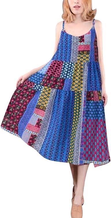 Greenis Women Summer Dress Maxi Printed Long Plus Lace Up