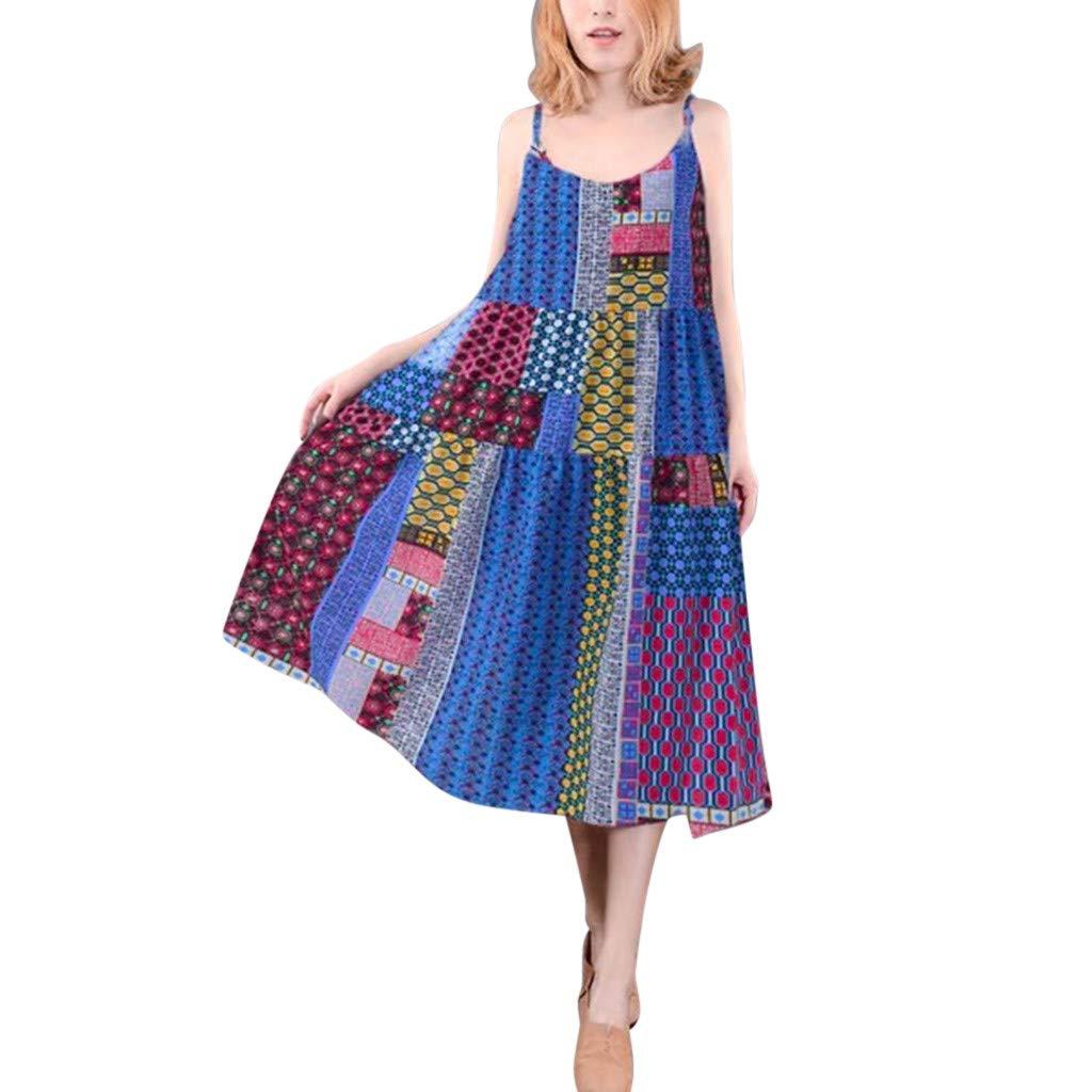 BODOAO Women Bohe Long Dress Plus Size Sleeveless Linen Strappy Loose Dress Dress