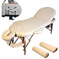 TecTake® Massageliege oval + Set3 beige inkl. 2 Lagerungsrollen + Tasche