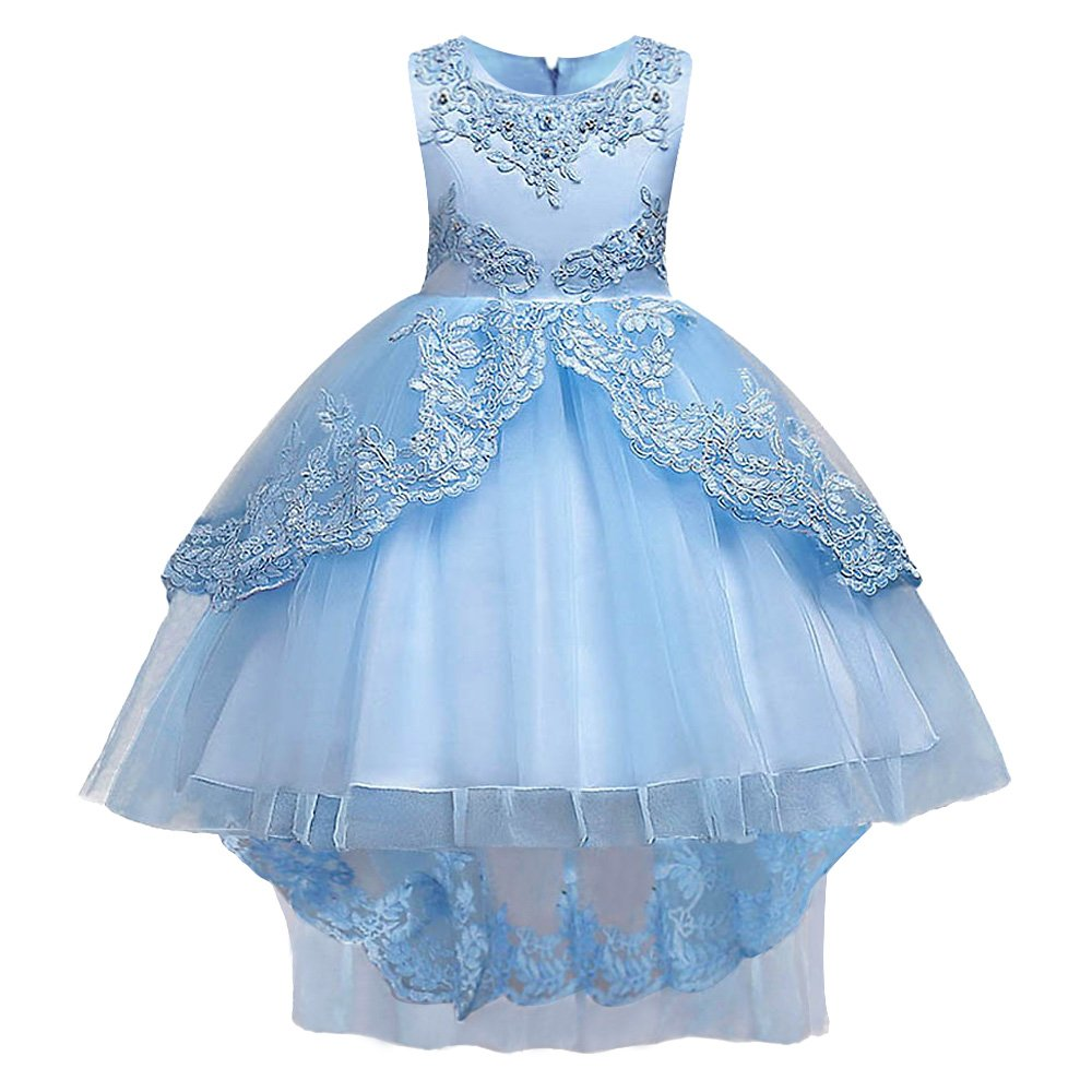 HUANQIUE Girls Pageant Party Dresses High Low Wedding Flower Girl Gowns Sky Blue 4-5 T