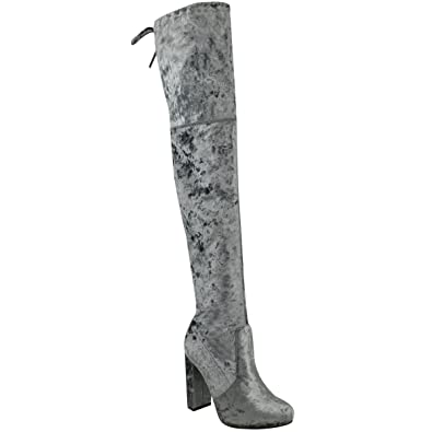 84c30db9308 Fashion Thirsty Womens Velvet Thigh High Over The Knee Stretchy Block Heels  Boots Size