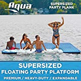 Aqua Expandable Floating Island, Lake Raft, Water Mat, Inflatable Lake-Ocean-Pool Float, 1, 000 Lbs. Capacity, Heavy Duty, X-Large, Navy/White Stripe